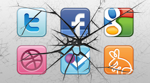 Smashed social networking icons