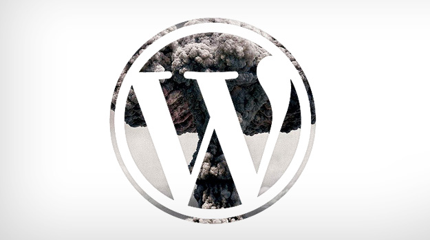 WordPress logo with nuclear explosion behind it