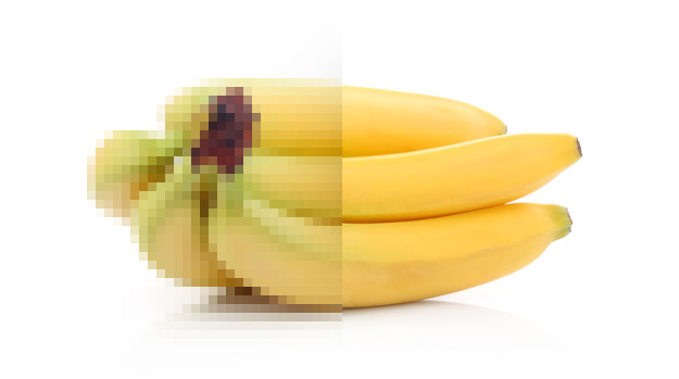 An image of bananas, half of it is pixellated
