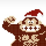 Pixelated monkey with christmas hat