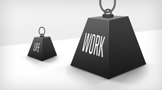 Two anvils representing work-life balance