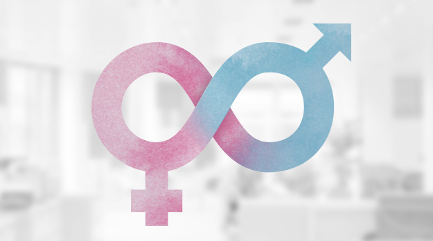 Male and female gender icons joined with the infinite symbol