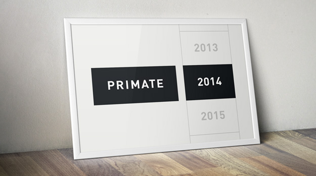 A calendar showing the year 2014 and the word Primate