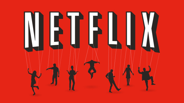 Netflix logo with puppet strings extending to silhouettes