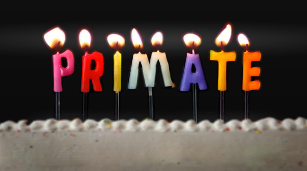Birthday candles spelling Primate